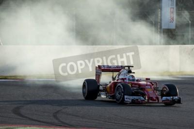 Carta da parati Driver di Sebastian Vettel. Ferrari. Formula Uno giornate di test a Circuit de Catalunya. Montmelò, in Spagna. 2 Marzo 2016