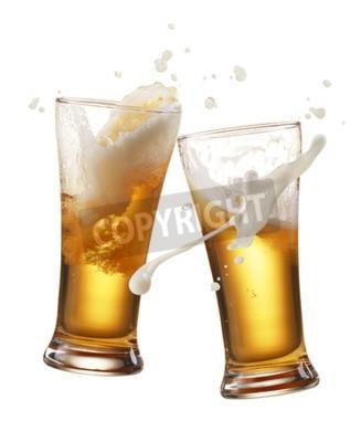Carta da parati due bicchieri di birra tostare creazione iniziale