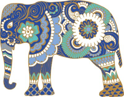 Carta da parati elefante asiatico con i modelli