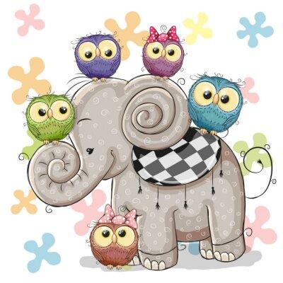 Carta da parati Elefante e gufi