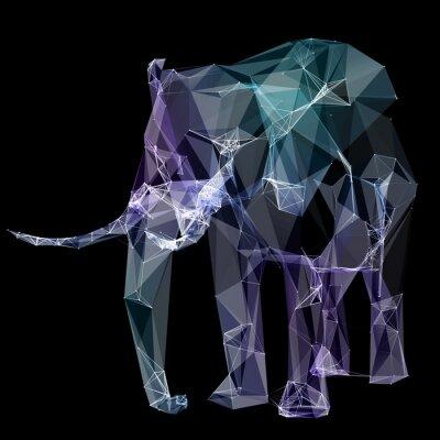 Carta da parati Elefante nella progettazione poligono. Illustrazione digitale. Concetto