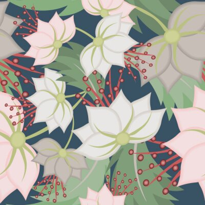 Carta da parati Elegant vector seamless pattern with lotus flowers. Vintage floral romantic texture. Abstract botanical ornament, natural wallpapers in Asian style. Repeat background design for tileable print, fabric