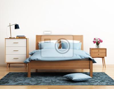 Elegante blu camera da letto luminosa moderna con eug carta da ...