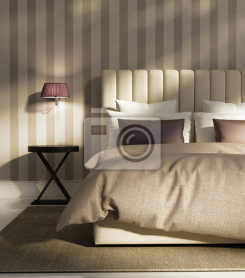 Elegante camera da letto atmosferica lusso moderno con carta carta ...