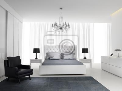 Elegante camera da letto bianco fresco moderno con tappeto carta da ...