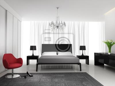 Carta da parati: Elegante camera da letto bianco nero moderno con tappeto