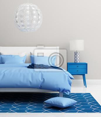 Carta da parati: Elegante camera da letto blu fresco moderno con tappeto