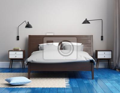 Elegante camera da letto blu fresco moderno con tappeto carta da ...