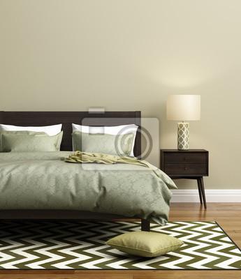 Carta da parati: Elegante camera da letto verde fresco moderno con tappeto