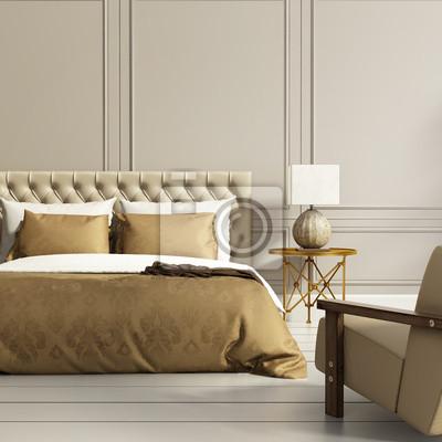 Elegante oro di lusso moderno e camera da letto grigio carta da ...