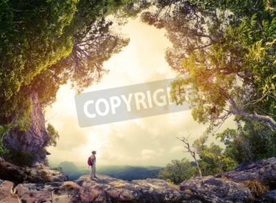 Carta Da Parati Foresta Tropicale : Escursionista con zaino in piedi sulla roccia circondato da una