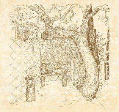 Carta da parati Estate patio soleggiato a penna arte Doodle stile. Abbozzo disegnato a mano di vettore con tela di sfondo con texture.