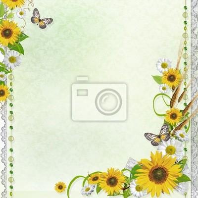 Estate Sfondo Con Farfalla E Fiori 1 Di Set Carta Da Parati