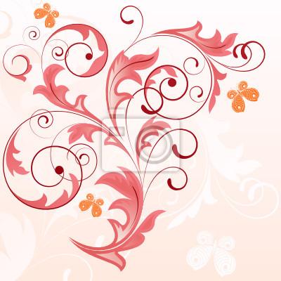 Estate Sfondo Rosa Con Piante E Farfalle Carta Da Parati Carte Da