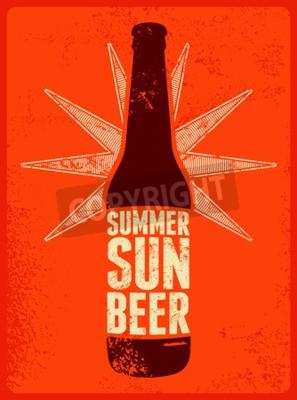 Carta da parati Estate, sole, Birra. poster retrò birra grunge tipografica. Illustrazione vettoriale.