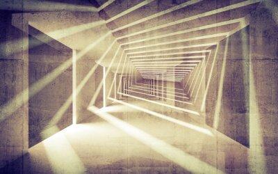 Carta da parati Estratto concreta prospettiva 3d interno con fasci di luce