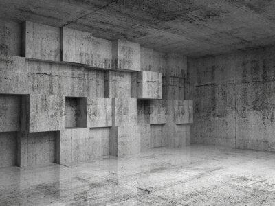 Carta da parati Estratto concreto 3d interno con cubetti di decorazione su muro