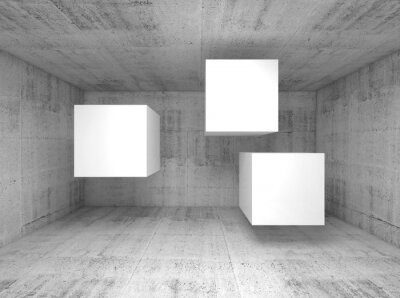 Carta da parati Estratto interno di cemento, cubi volanti 3 d