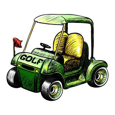 Carta da parati Estratto vettore isolato golf cart. Linea colore disegno vettoriale