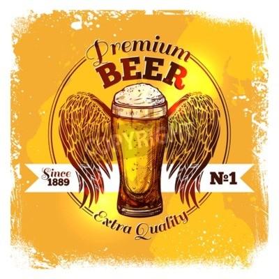 Carta da parati etichetta della birra di qualità premium con vetro schizzo di bevanda con illustrazione vettoriale ornamento