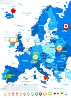 Carta da parati Europa - Mappa e navigazione icone - illustration.Image contiene strati successivi: l'orografia del terreno, di campagna e di terra nomi, nomi di città, nomi di oggetti acqua, icone di navigazione.