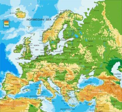 Carta da parati Europa - mappa fisica