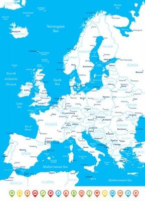 Carta da parati Europa - Mappa, icone di navigazione - illustration.Image contiene strati successivi: l'orografia del terreno, il paese e paese nomi, nomi di città, nomi di oggetti acqua, icone di navigazione.