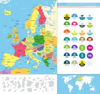 Carta da parati Europe detailed political map.Flat icon set