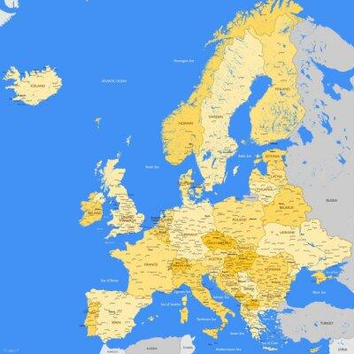 Carta da parati Europe map cities