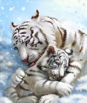 Carta da parati famiglia tigre