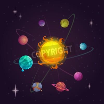 Carta da parati Fantasy sistema solare, pianeti alieni e stella, vettore illustrazione spazio