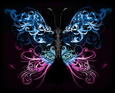 Carta da parati farfalla fatta di forme astratte fiorire