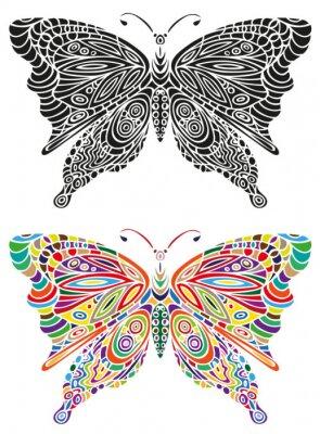 Carta da parati farfalla ornamento colori e in bianco
