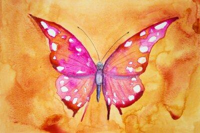 Carta da parati farfalla rosa con sfondo arancione. La tecnica tamponando dà un effetto soft focus a causa della rugosità superficiale alterata della carta.