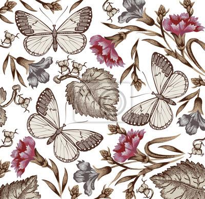 Farfalle Falene Insetti Bellissimo Sfondo Vintage Con I Fiori