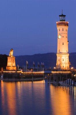 Carta da parati Faro di Lindau di notte