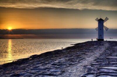 Carta da parati Faro mulino a vento STAWA Mlyny, Swinoujscie, Mar Baltico, Polonia