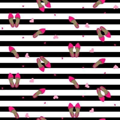 Carta da parati fashion girl chic seamless. scarpe pompa elegante vettore ripetere sfondo bianco e nero striscia.