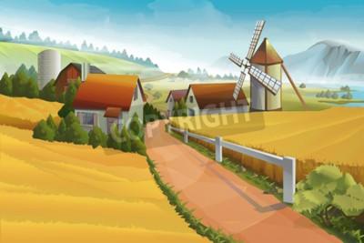 Carta da parati Fattoria paesaggio rurale sfondo