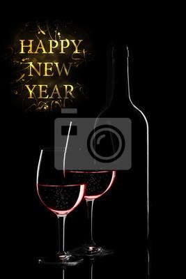 Felice Anno Nuovo Elegante Auguri Con Vino Rosso Su Sfondo Scuro