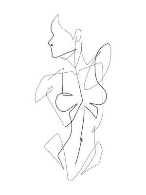 Carta da parati Female Figure One Continuous Line Vector Graphic Illustration