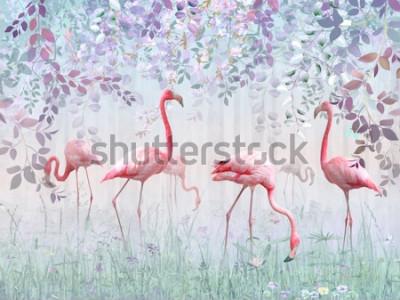 Carta da parati Fenicotteri rosa in un delicato giardino in una nebbia turchese. Murali e sfondi per la stampa di interni.