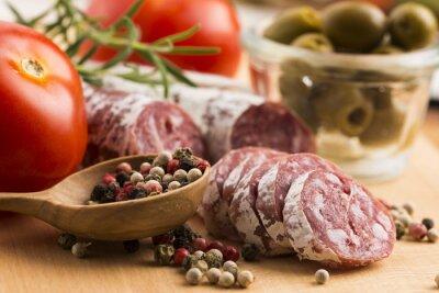 Carta da parati fette di spagnolo salsiccia di maiale
