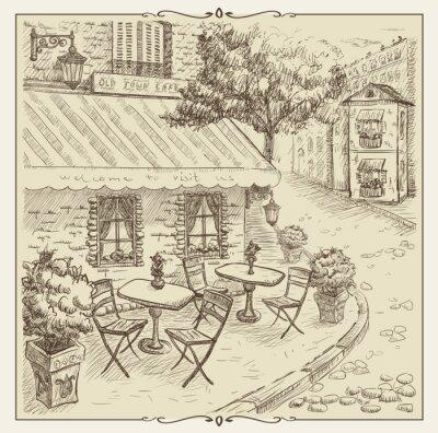 Carta da parati Figura disegnata a mano, caffè della via nel centro storico.