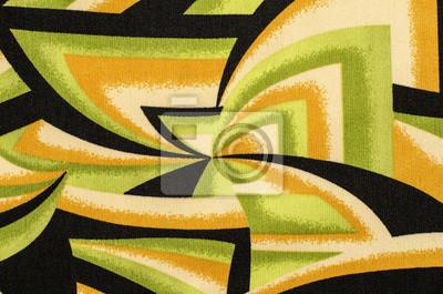 Figure Astratte Modello Su Tessuto Verde Con Nero E Giallo Spyral