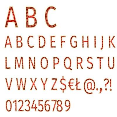 Carta da parati fiocchi di neve alfabeto su sfondo rosso vettore