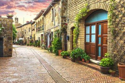 Carta da parati Fiore riempito le strade della città vecchia italiano in Toscana.