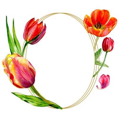 Carta da parati Fiore rosso stupefacente del tulipano con la foglia verde. Insieme dell'illustrazione del fondo dell'acquerello. Ornamento bordo cornice rotonda.