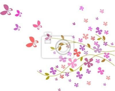 Fiore Sfondo Con Farfalle In Colori Rosa 3 Carta Da Parati Carte