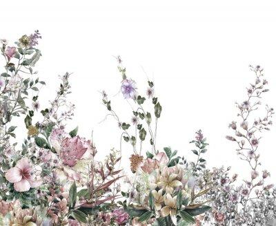 Carta da parati Fiori astratti pittura ad acquerello. Fiori di primavera multicolore